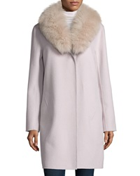Neiman Marcus Cashmere Collection Double Face Cashmere Coat W Fur Collar