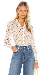 Free People Flowers In December Blouse In White. Ivory
