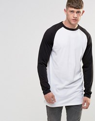 Bellfield Longline Raglan Long Sleeve Baseball T Shirt Black