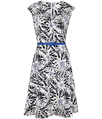 Cc Firework Print Fit And Flare Dress Navy