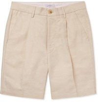 Saturdays Surf Nyc Pleated Linen And Cotton Blend Twill Shorts Beige