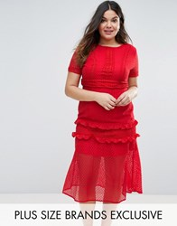 Truly You Tiered Premium Lace Midi Dress Red