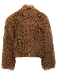 The Soloist Furry Bomber Jacket Brown