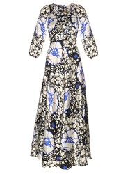Duro Olowu Zanzibar Flower Print Silk Satin Dress White Multi