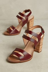 Anthropologie Vanessa Wu Plum Block Heel Sandals Wine