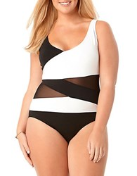 Anne Cole Womens Plus Asymmetrical Mesh One Piece Swimsuit Black White