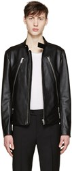 Maison Martin Margiela Black Zippered Leather Jacket