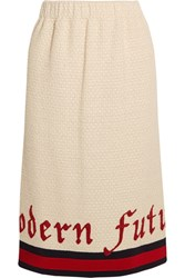 Gucci Embroidered Cotton Blend Boucle Tweed Midi Skirt Ivory