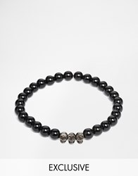 Simon Carter Onyx Beaded Bracelet With Antiqued Skulls Exclusive To Asos Black