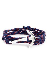 Men's Miansai Silver Anchor Rope Wrap Bracelet Navy Blue