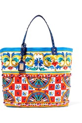 Dolce And Gabbana Textured Leather Trimmed Embellished Printed Canvas Tote One Size