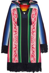 Sacai Fringed Printed Cotton Hooded Poncho Pink