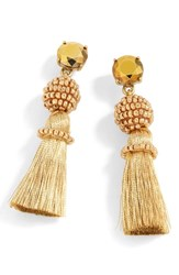 J.Crew Bead And Tassel Drop Earrings Gold