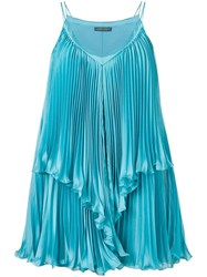 Alberta Ferretti Pleated Dress Blue