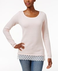 Charter Club Petite Lace Trim Textured Sweater Only At Macy's Misty Pink