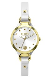 Women's Versus By Versace 'Roslyn' Leather Strap Watch 34Mm White Gold