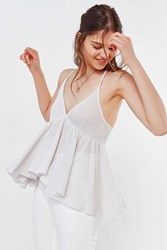 Urban Outfitters Uo Lola Thermal Babydoll Tank Top Cream