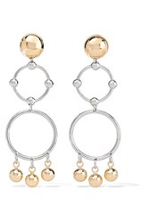 Eddie Borgo Barbell Chandelier Gold And Silver Plated Earrings One Size