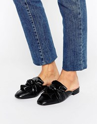 London Rebel Bow Mule Shoe Black Pu