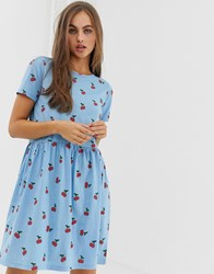 Daisy Street Mini Smock Dress In All Over Cherry Print Blue