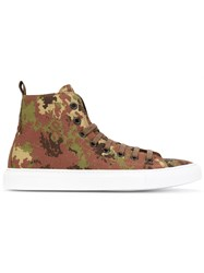 Dsquared2 Basquettes Camo Hi Top Sneakers Men Calf Leather Elastodiene Polyamide 44 Brown