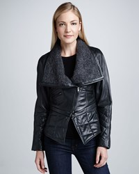 Cusp By Neiman Marcus Leather Moto Jacket With Knit Collar Women's