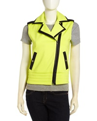 Central Park West Moto Vest With Faux Leather Trim Citron Black