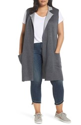 Bobeau Plus Size Jasper Double Face Sweater Vest Charcoal