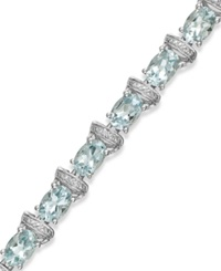 Macy's Aquamarine 9 1 5 Ct. T.W. And Diamond Accent Link Bracelet In Sterling Silver