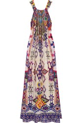Camilla Embellished Printed Silk Crepe De Chine Maxi Dress Purple