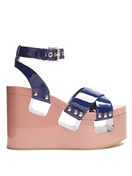 Miu Miu Patent Leather Wedge Sandals Navy Multi