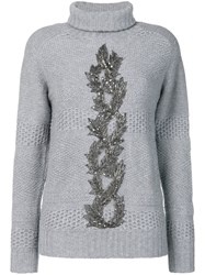 Jo No Fui Embellished Turtle Neck Sweater Polyamide Polyester Cashmere Glass L Grey