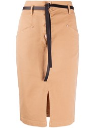 8Pm Belted Denim Skirt Neutrals