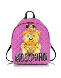 Moschino Teddy Bear Pink Quilted Nylon Backpack
