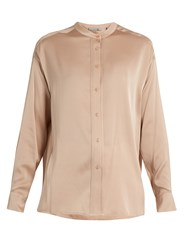 Vince Stand Collar Silk Blend Satin Blouse Light Pink
