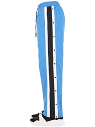 Burberry Nylon Track Pants W Side Buttons Bright Blue