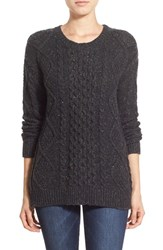 Women's Treasure And Bond Cable Knit Sweater Grey Dark Charcoal Heather Nep