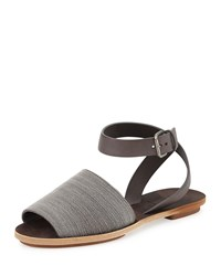 Beaded Ankle Strap Flat Sandal Brunello Cucinelli Grey