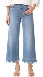 Red Valentino Stone Washed Scallop Hem Jeans Light Blue Denim