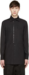 D.Gnak By Kang.D Black Poplin Front Zip Shirt