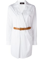 Dsquared2 Belted Shirt Dress White