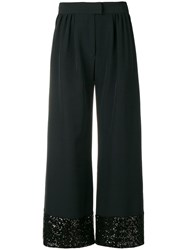 Gianluca Capannolo Sequins Embellished Flared Trousers Black