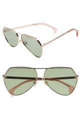 Wildfox Couture Taj 62Mm Oversize Aviator Sunglasses Rose Gold Bottle Green Solid Rose Gold Bottle Green Solid