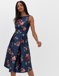 Chi Chi London Midi Dress In Navy Floral Multi