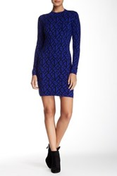 Mock Neck Pattern Sweater Dress Blue