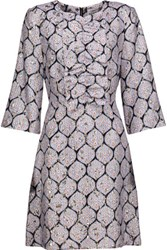 Suno Ruffled Silk Blend Jacquard And Metallic Brocade Mini Dress Silver