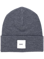 Oamc Logo Patch Beanie Men Wool One Size Grey
