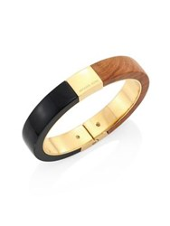 Michael Kors Color Block Wood Detail Bangle Brown Black