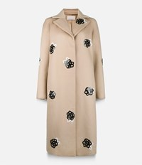 Christopher Kane Sequinned Wool Raglan Coat Nude And Neutrals