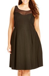 Plus Size Women's City Chic Bow Back Fit And Flare Dress Black